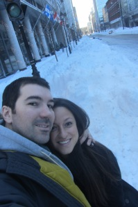In front of our place in Montreal, before hitting the road. No shortage of snow.