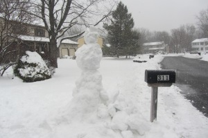 """So-called """"demented"""" snowman greeting us at Riccardo's sister's"""