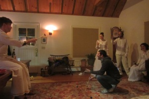 A snapshot from the end of the night - living room croquet and white wedding dresses in celebration of Eliza's birthday.