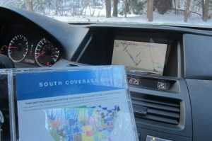 """Departure time delayed a further few minutes upon realization that our GPS doesn't actually go to North Carolina. Crisis averted, though - we found the """"Southern US"""" disc in the glove box."""