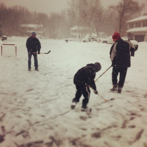 Snowy street hockey with nephews, brother and brother-in-law.