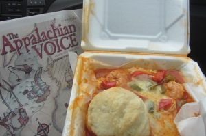 Shrimp, grits, and what Riccardo thought was a scone (in reality, a biscuit).