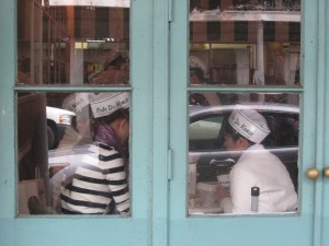 Parting shot 1: Workers at the famous Cafe du Monde, beloved by tourists for its sugar-laden beignets and chicory coffee.