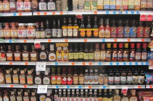 The BBQ sauce aisle is serious business.