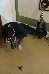 Riccardo photographs the spot Elvis stood on during recording.