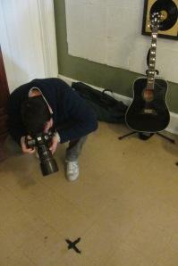 Riccardo photographs the spot Elvis stood on during recording.