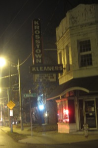 """The sign below """"Krosstown Kleaners"""" says """"JESUS IS LORD, CHECK WEB SITE FOR SPECIAL"""". Too amazing."""
