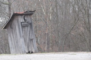 The outhouse at Little Old Jenkins'. Fortunately, pristine indoor restrooms were also available for less adventurous patrons.