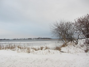 The St. Laurence River in Cornwall, Ontario. Winter almost seems bearable here.