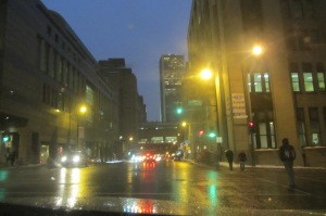 The drudgery of downtown Montreal on a rainy January night.