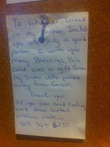 A sweet note on the wall at Tolly-Ho. Are all Lexingtonians this nice?!