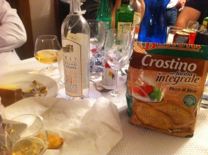 A photo we took to record the brand of crostini we were eating.