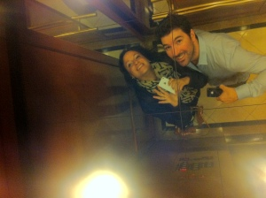 Love in an elevator, at the Orchard Hotel.