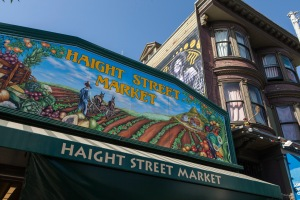 The Haight Street Market, with Jimi Hendrix's Red House in the background.