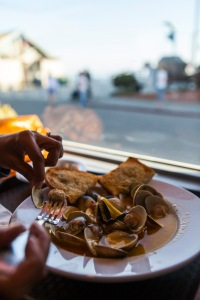 A plate of clams at Duckie's Chowder House in Cayucos. Heaven.