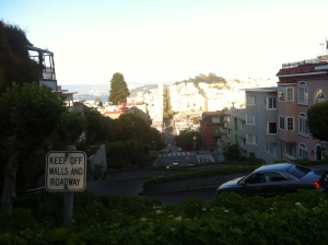 A truly terrible photo of iconic Lombard Street, the most most crooked (and difficult to photograph) street on earth.