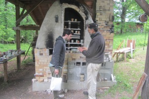 This very kind pottery maker (potter?) showed us his kiln.