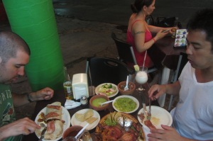 A terrible photo but you can sort of get an idea of the feasting we did at El Fogón.