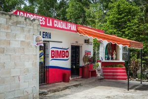 No roadside convenience store would be complete without a shrine. (Bimbo, by the way, is a brand of ice cream.)