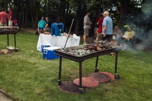 A barrel-burning barbecue at Lailey.
