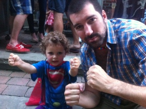 Bonus of staying in Montreal last night: a backyard BBQ featuring an impromptu jam session and an appearance from Superman.