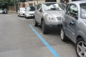Rearview mirrors appear to be a common casualty on Rome's narrow streets.