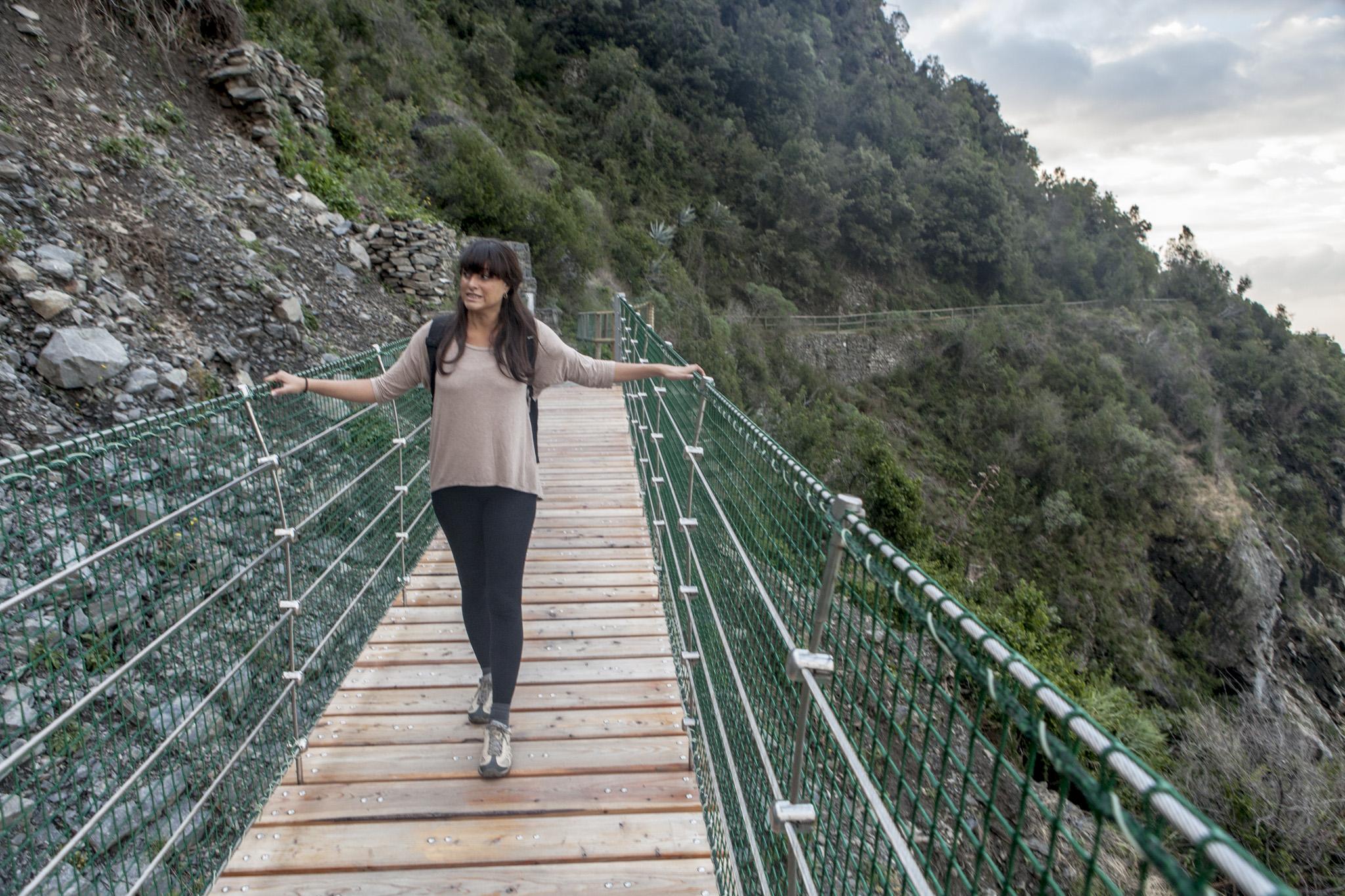 State-of-the-art suspension bridge over the remnants of a recent landslide