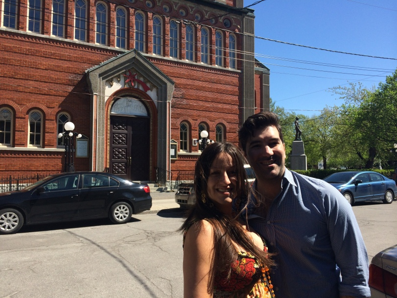 Returning to the scene of the crime: May 19, 2014, in front of Madonna della Difesa, Little Italy, Montreal... where we got married exactly one year earlier.