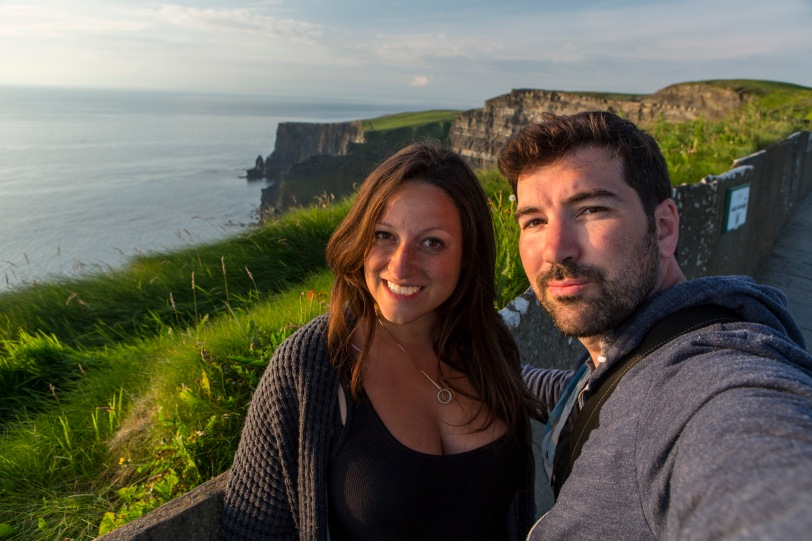 Our stupid faces blocking the Cliffs of Moher.